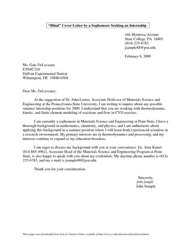 Nursing Student Cover Letter For Internship