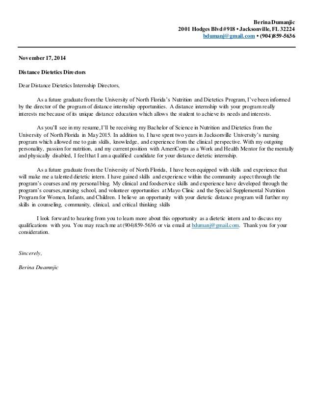 Nutrition And Dietetics Internship Cover Letter