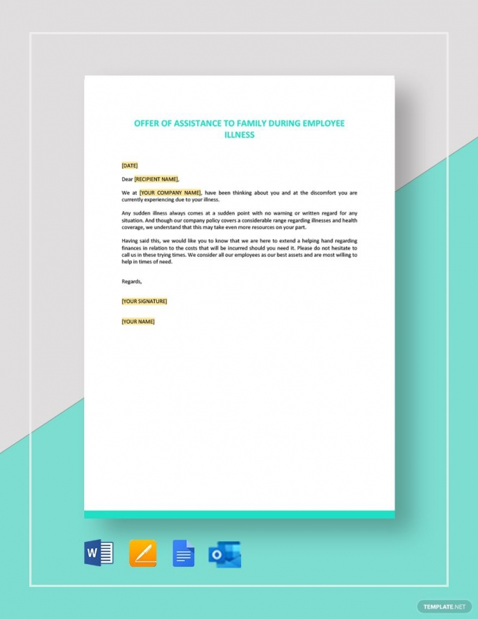 Offer Of Assistance To Family During Employee Illness Template In