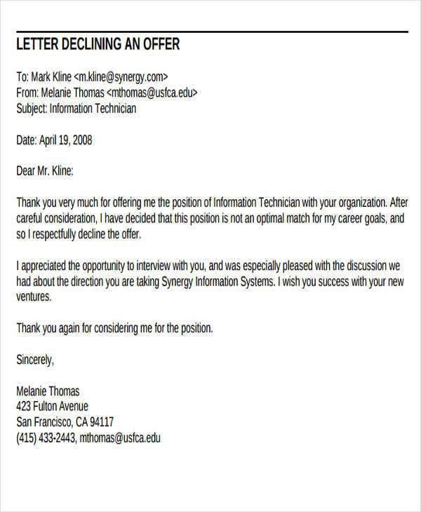 Offer Rejection Letter Template