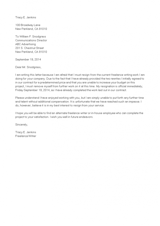 Official Independent Contractor Resignation Letter