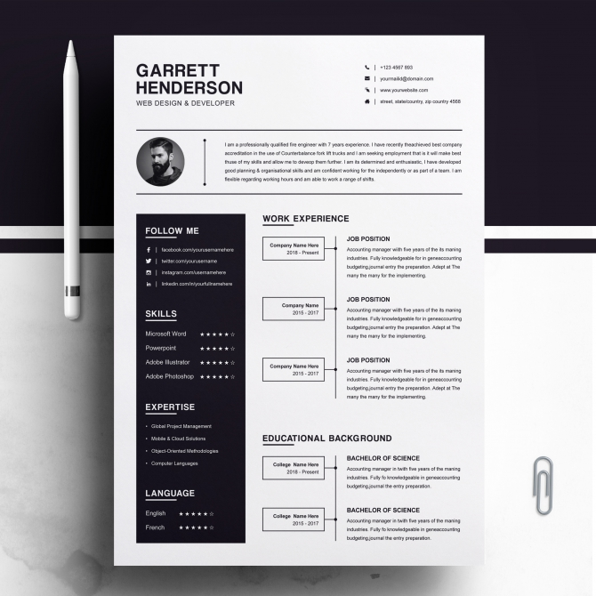 One Page Resume Template  Cover Letter