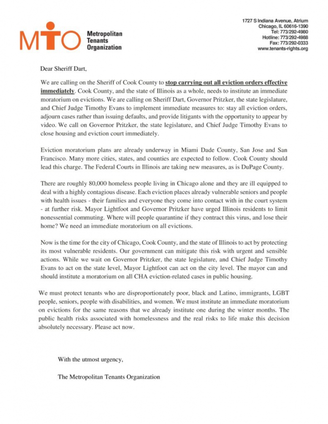 Open Letter To Cook County Sheriff Tom Dart Stop All Evictions