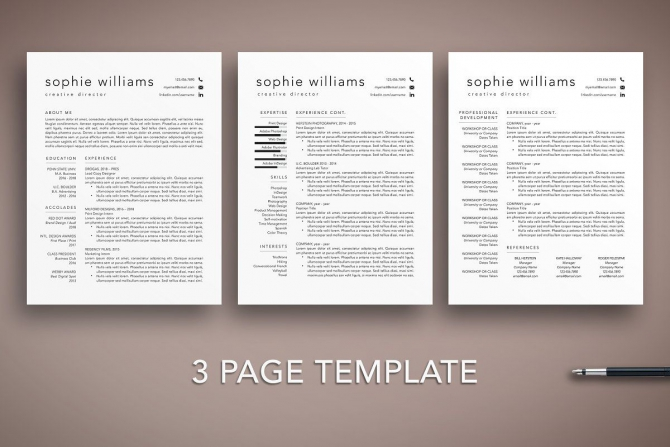 Page Resume Cv Template Word Pages In
