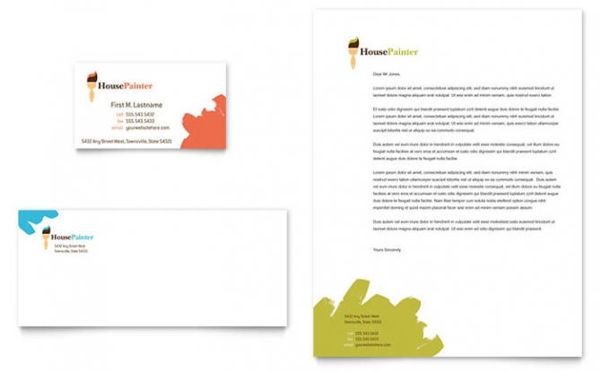 Painter   Painting Contractor Business Card   Letterhead Template