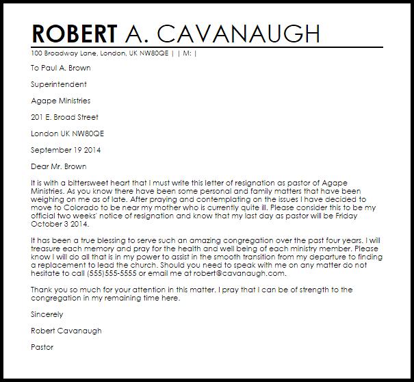 Pastor Resignation Letter Example