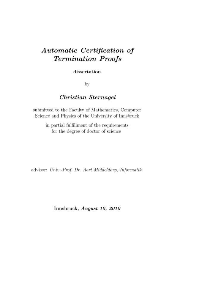 Pdf Automatic Certification Of Termination Proofs