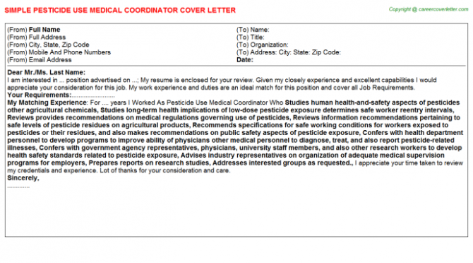 Pesticide Use Medical Coordinator Cover Letter