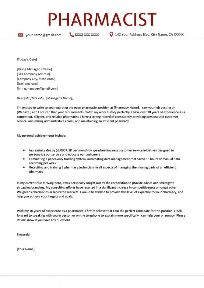 Pharmacist Cover Letter Sample