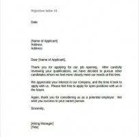Polite Rejection Letter