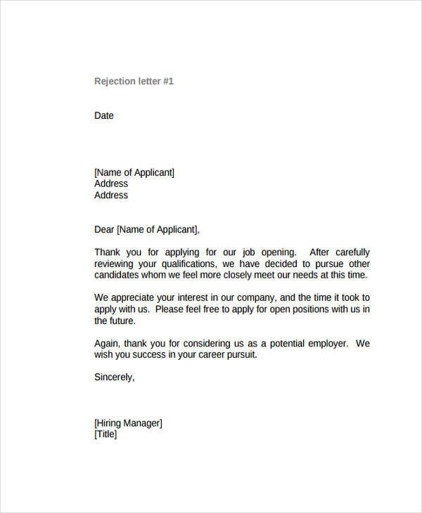 Polite Rejection Letter