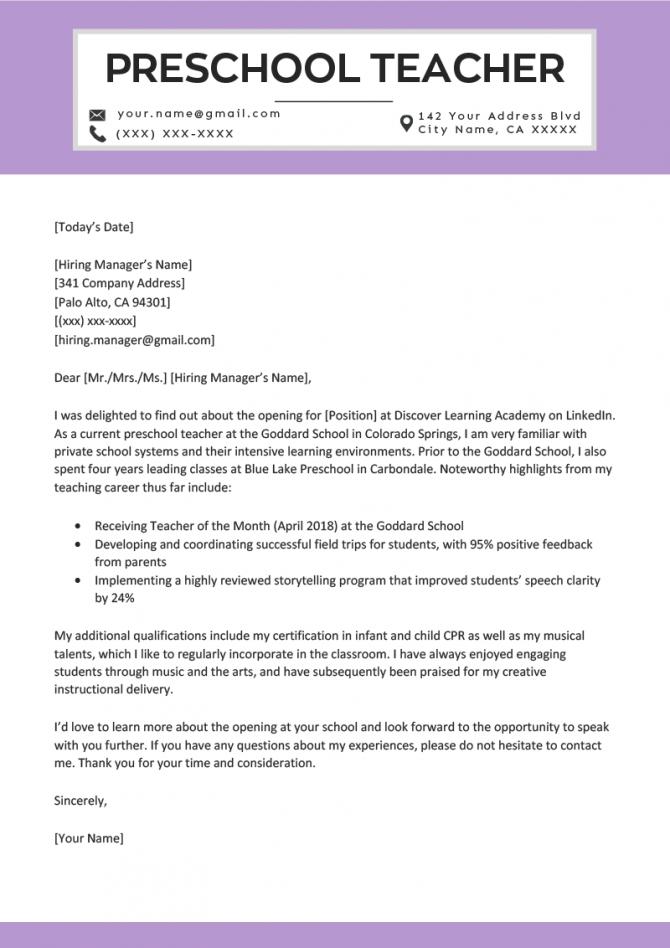Preschool Teacher Cover Letter Example   Writing Tips