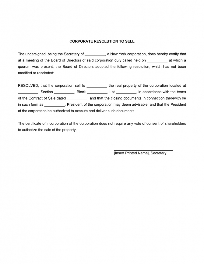 Printable Corporate Resolution Forms  Templatelab