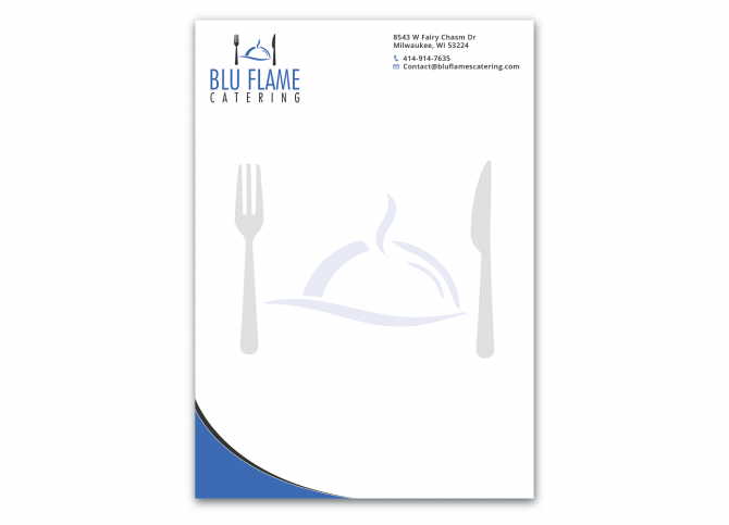 Professional  Masculine  Catering Letterhead Design For Blu Flame