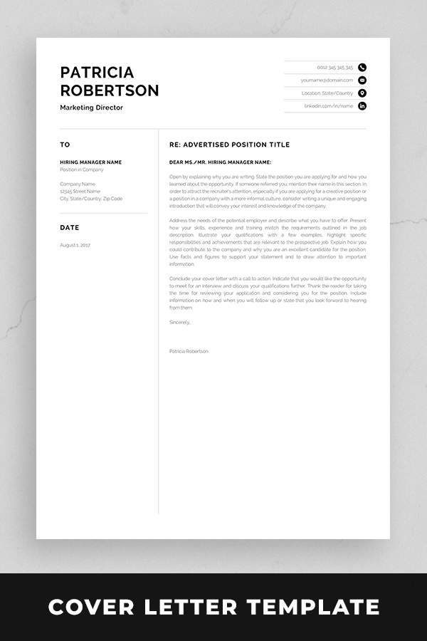 Professional  Page Resume Template Modern One Page Cv