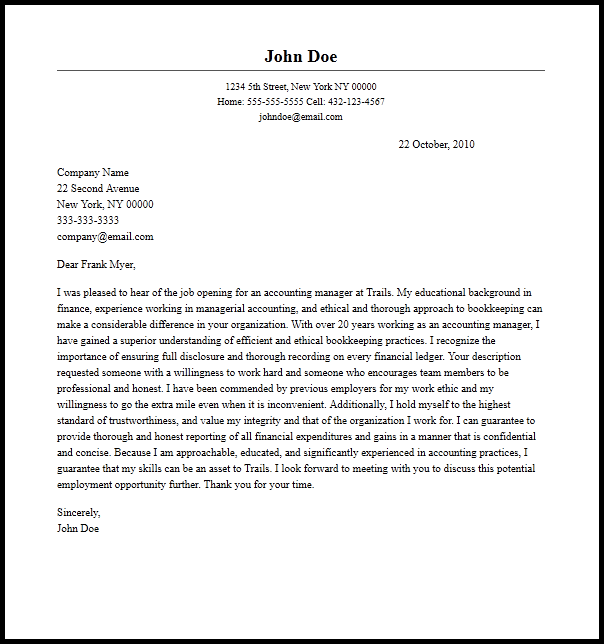 Professional Accounting Manager Cover Letter Sample   Writing