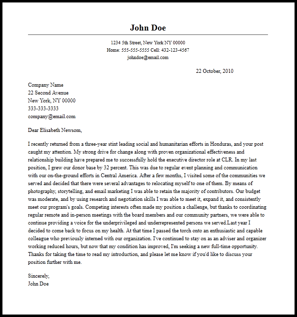 Professional Executive Director Cover Letter Sample   Writing