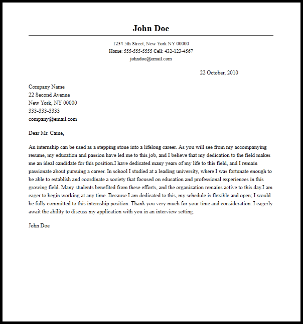 Professional Internship Cover Letter Example