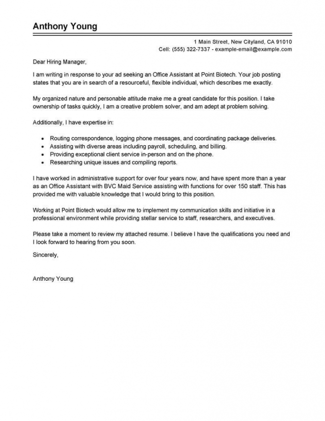 Professional Office Assistant Cover Letter Examples