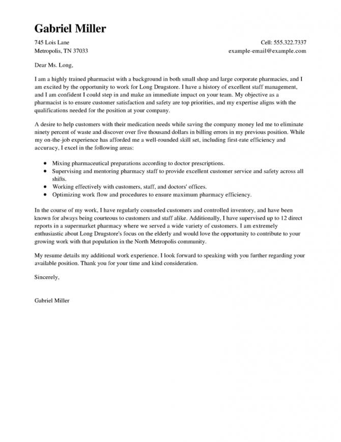 pharmacist resume cover letter samples  templates download