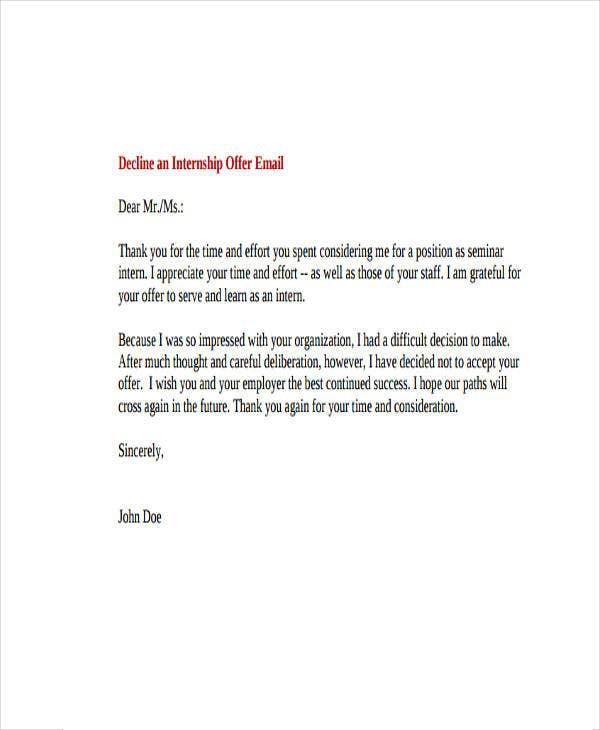 Professional Rejection Letter