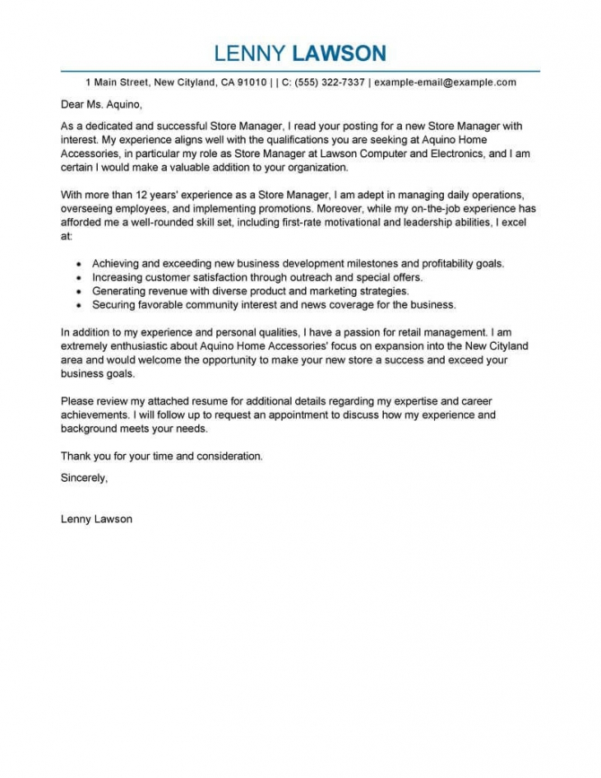 Professional Store Manager Cover Letter Examples