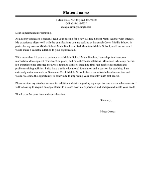 Professional Teacher Cover Letter Examples