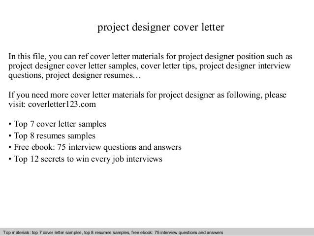 Project Designer Cover Letter
