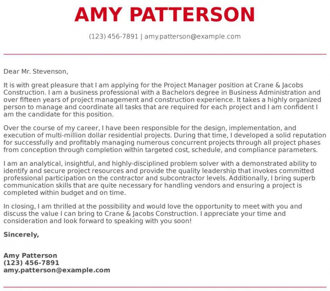 Project Manager Cover Letter Examples  Samples   Templates