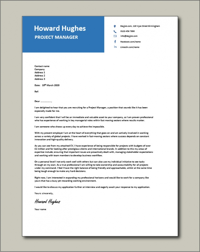 Project Manager Cover Letter Sample  Vacancy  Application  Project