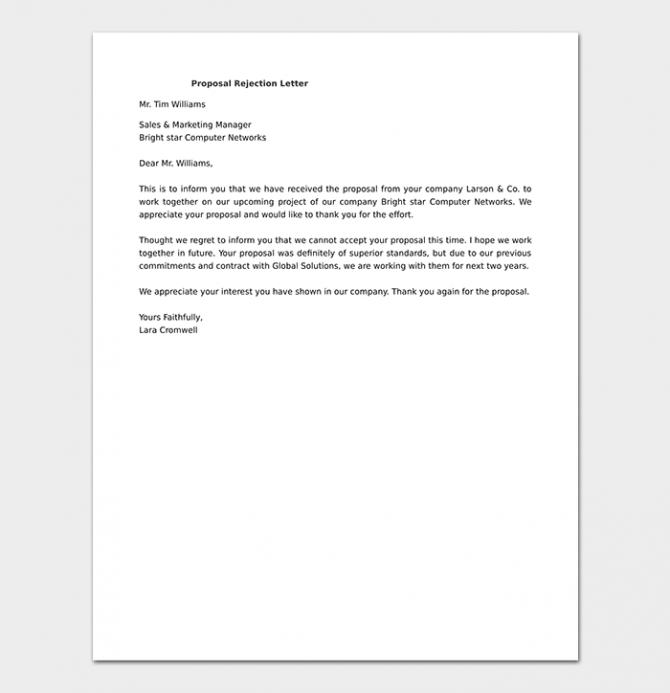 Proposal Rejection Letter Format   Sample Letters