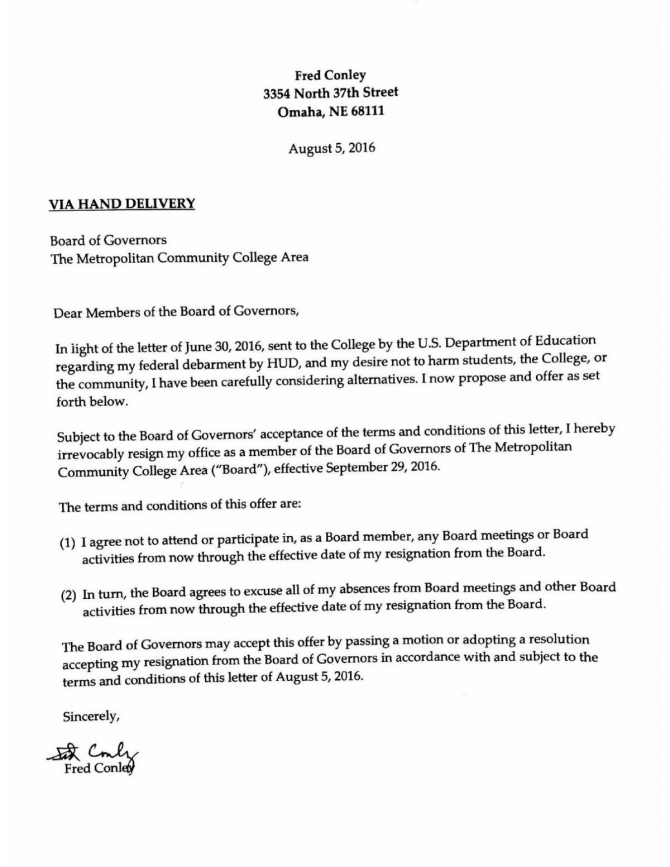Read Fred Conleys Resignation Letter Pdf