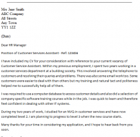 Assistant Customer Service Manager Cover Letter
