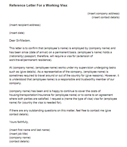 Reference Letter For A Working Visa Sample