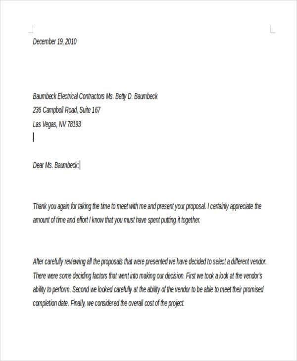 Rejection Letter Sample