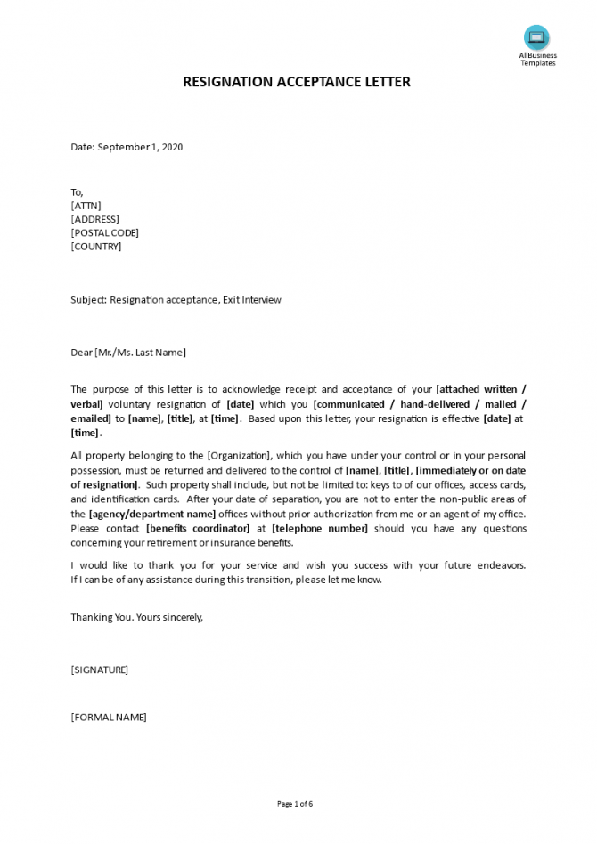 Request For Resignation Acceptance Letter