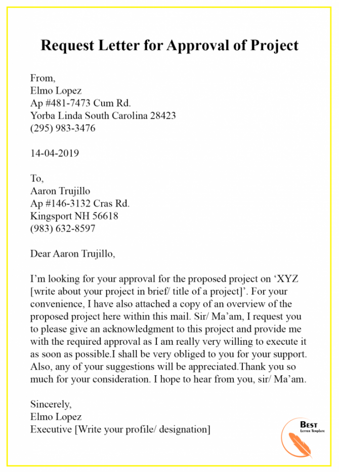 Request Letter Template For Approval  Format  Sample