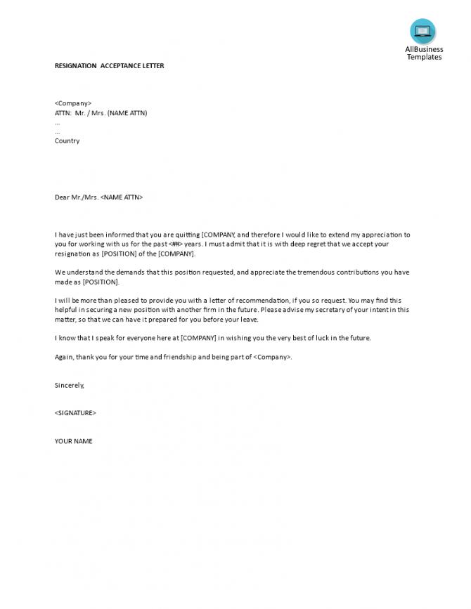 Resignation Acceptance Letter Template