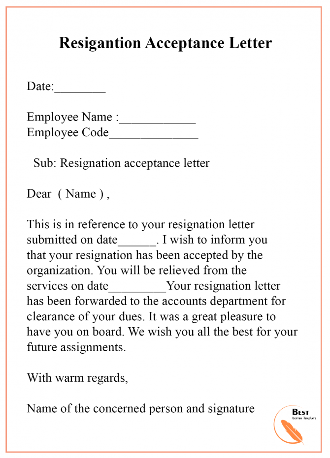 Resignation Acceptance Letter Template Examples   Samples