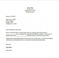 Company Employee Resignation Letter