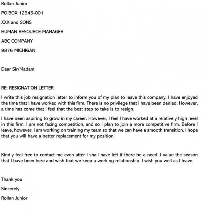 Resignation Letter For Career Growth
