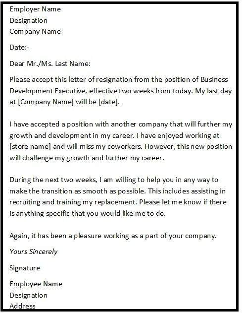 Resignation Letter Format For Personal Reason