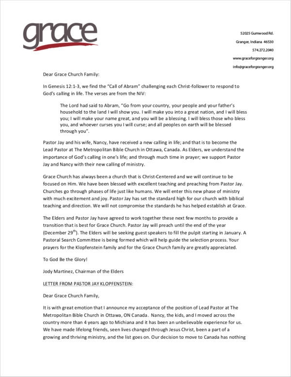 Resignation Letter From Church Ministry Position
