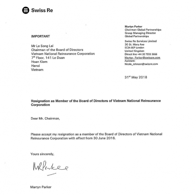 Resignation Letter Of Member Of The Board Of Directors Of Vietnam