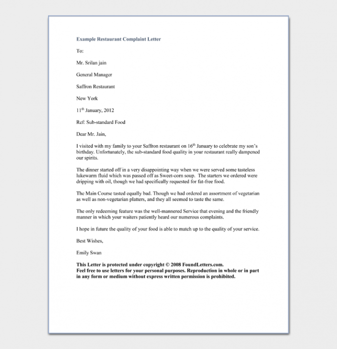 Restaurant And Hotel Complaint Letter Templates  Samples