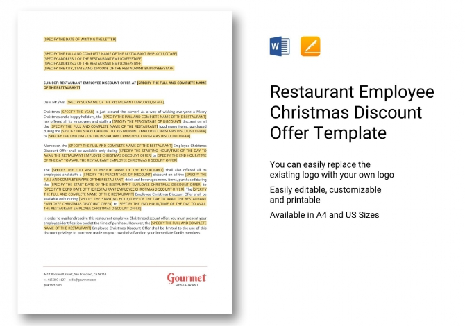 Restaurant Employee Christmas Discount Offer Template In Word