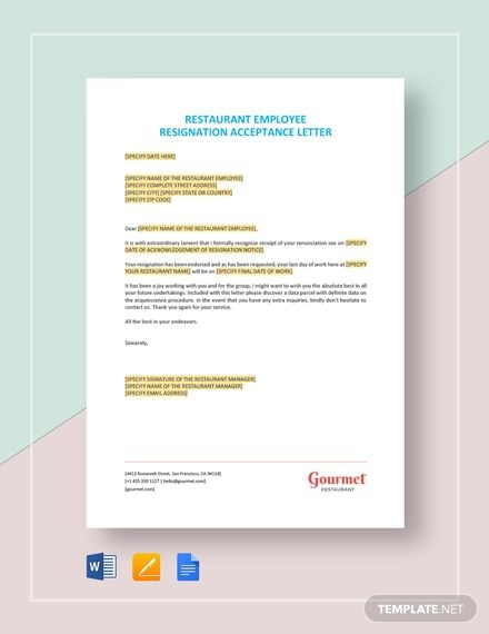 Restaurant Employee Resignation Acceptance Letter Template In