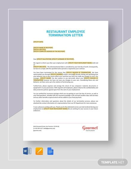 Restaurant Employee Termination Letter Template