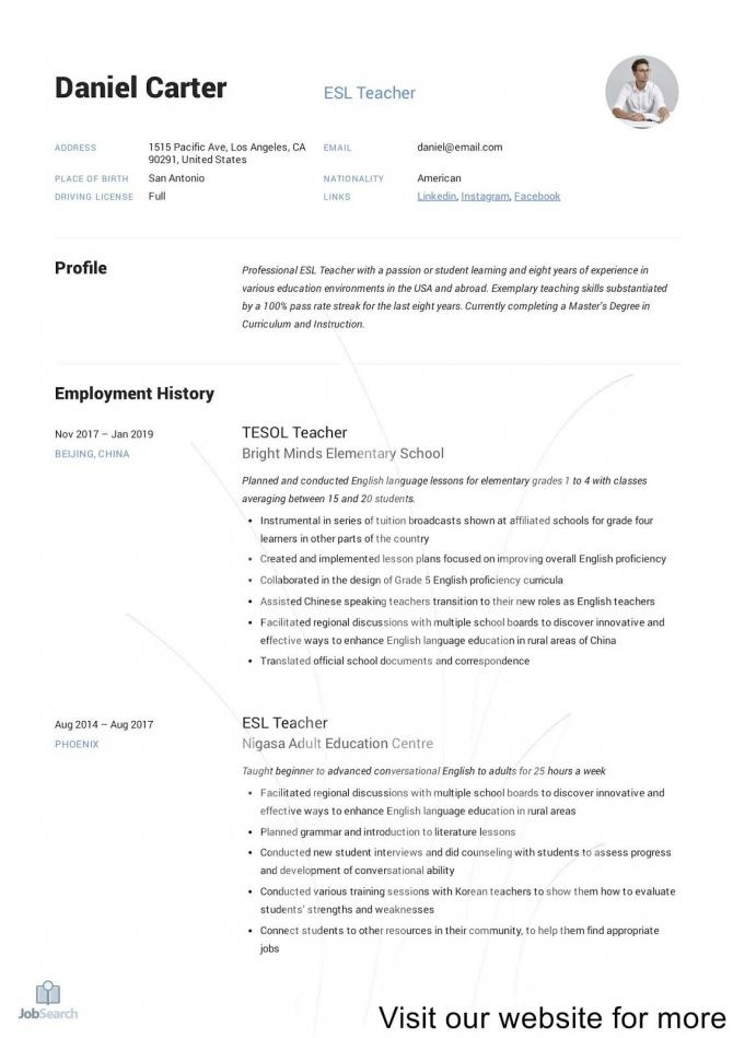 Resume Format For Freshers Job  In