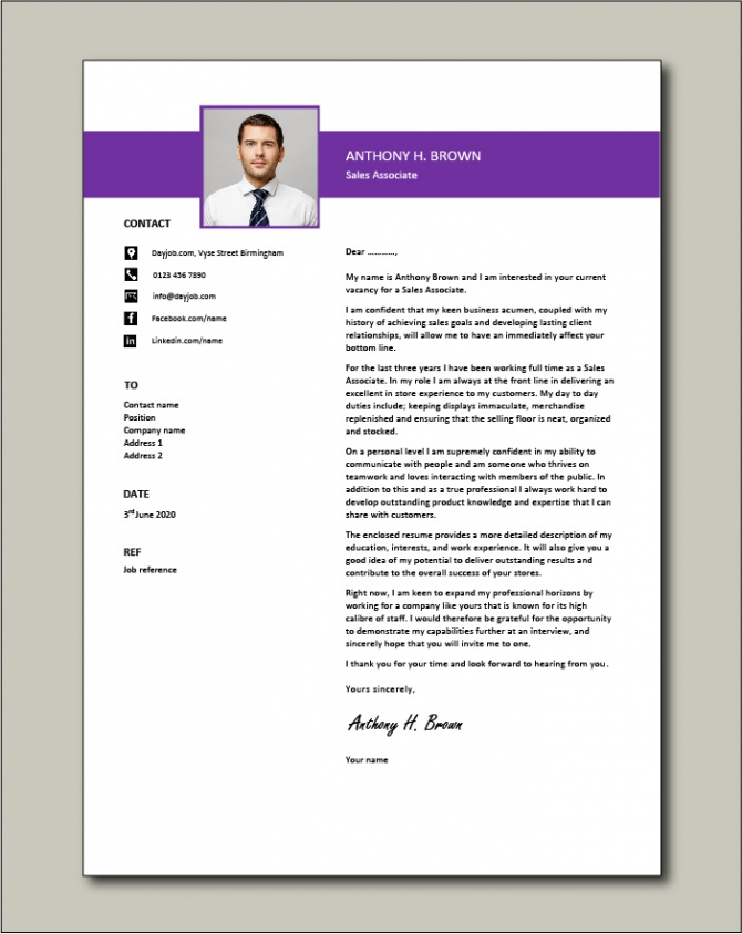 Sales Associate Cover Letter  Retail  Example  Sample  Selling